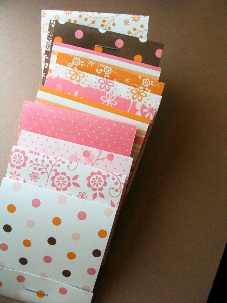 Matchbook Notepads -Dots and Stripes - set of 12