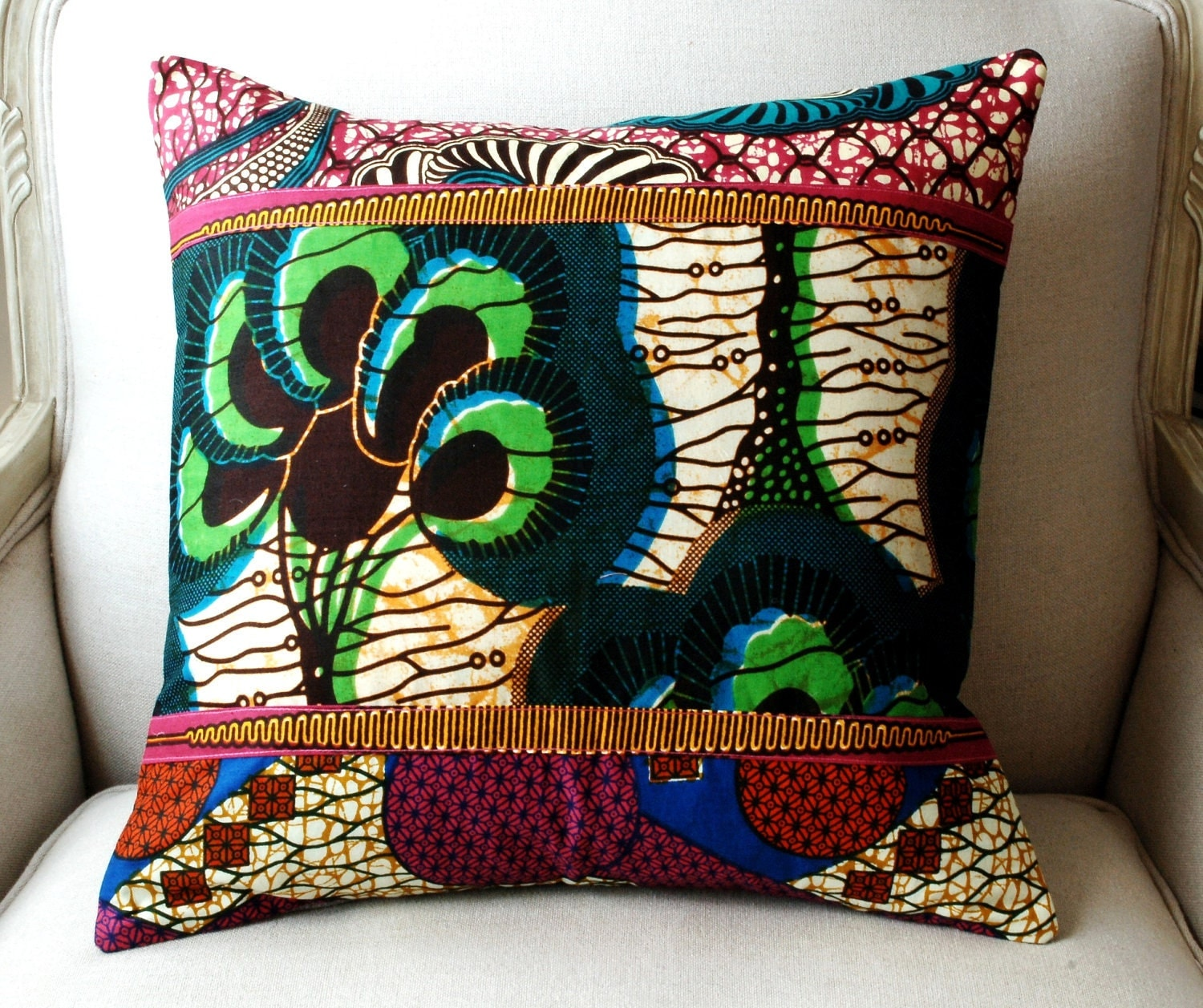 OOAK Handmade Patchwork Pillow cover - Genuine wax print batik/ grey burlap - 18 x 18 inches (45cms)
