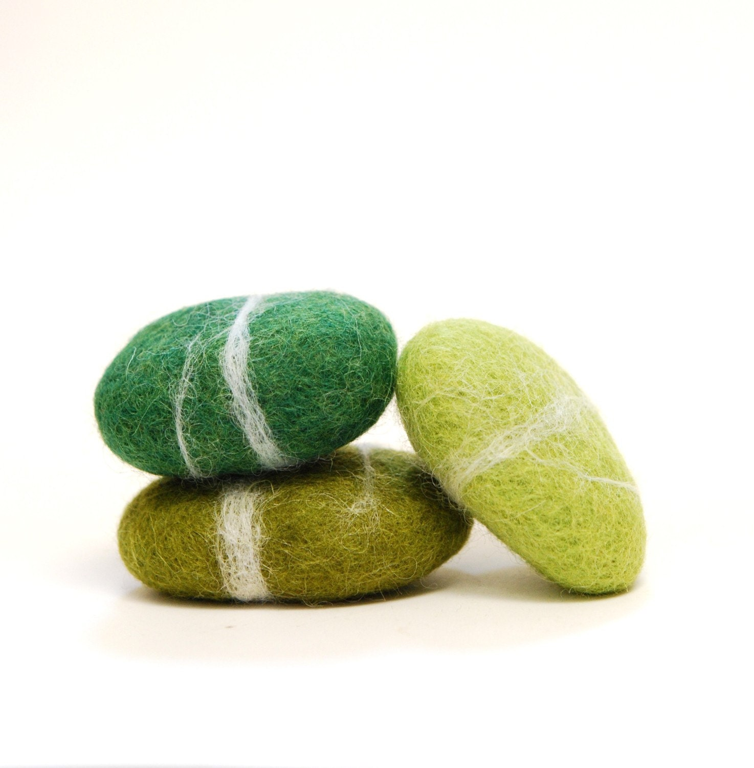 Shades of Green - Felted Stones