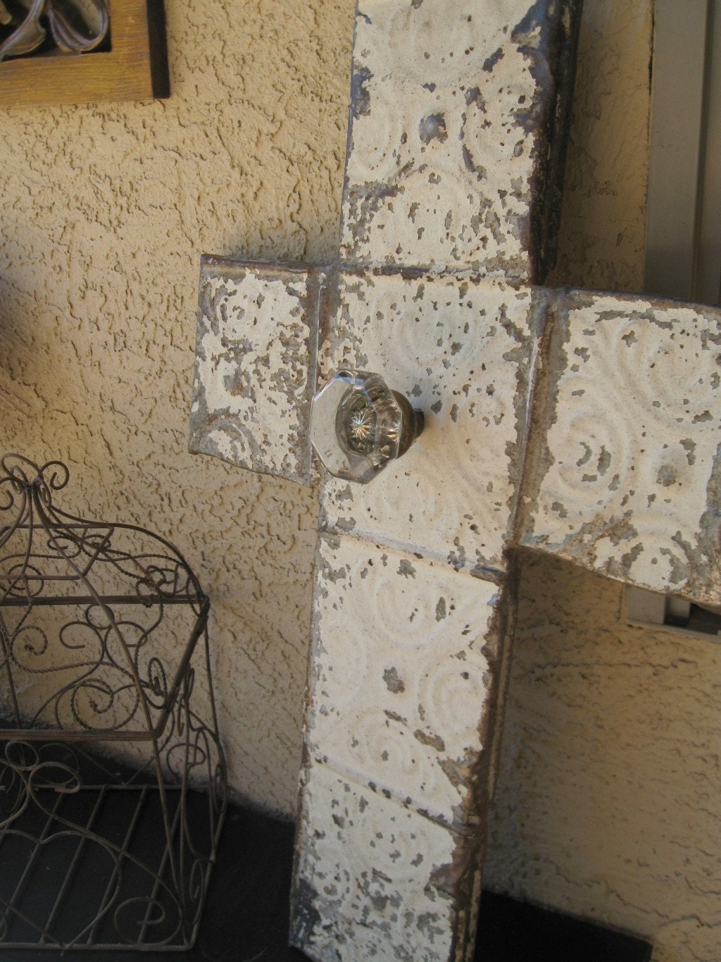 Architectural Salvage Art Vintage Ceiling Tin Cross with Antique Glass Door Knob