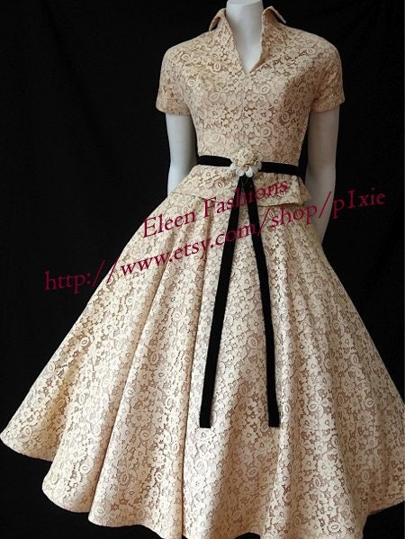 1950's circle skirt  tea length  and top made to size Lace or silk versions
