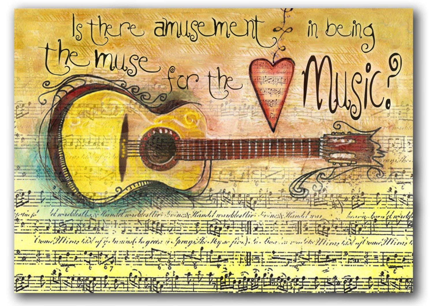 5 X 7 Guitar Muse for the Music -  Giclee Print in Colors of Yellow, Tan and Brown - christinafajardoart