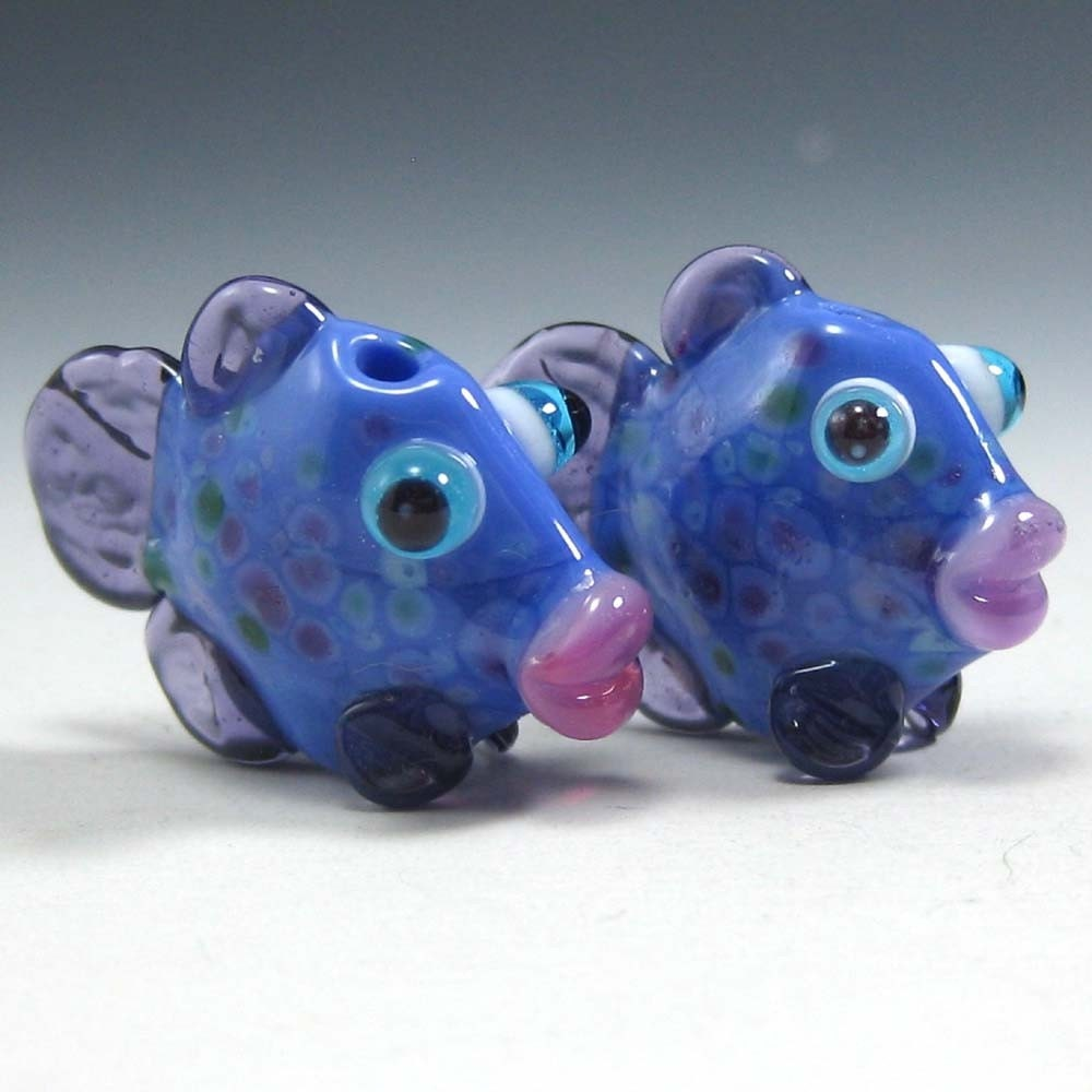 purple, lampwork fish pair