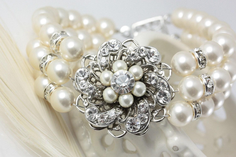 Bridal Triple Strand Ivory Pearl Floral Cuff Bracelet. SABINE TRIPLE