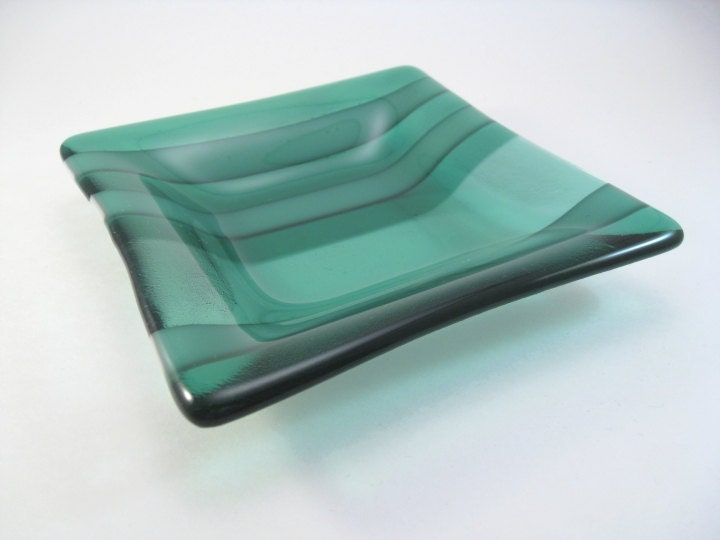 Square Fused Glass Dish - Seaside Green Stripes