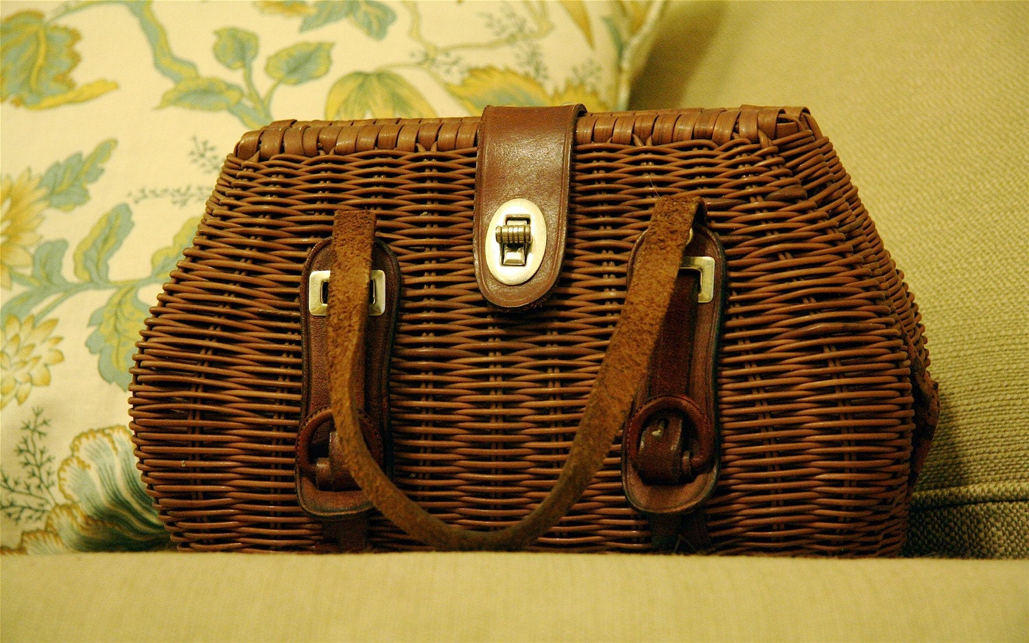 brown wicker and leather Vintage Purse