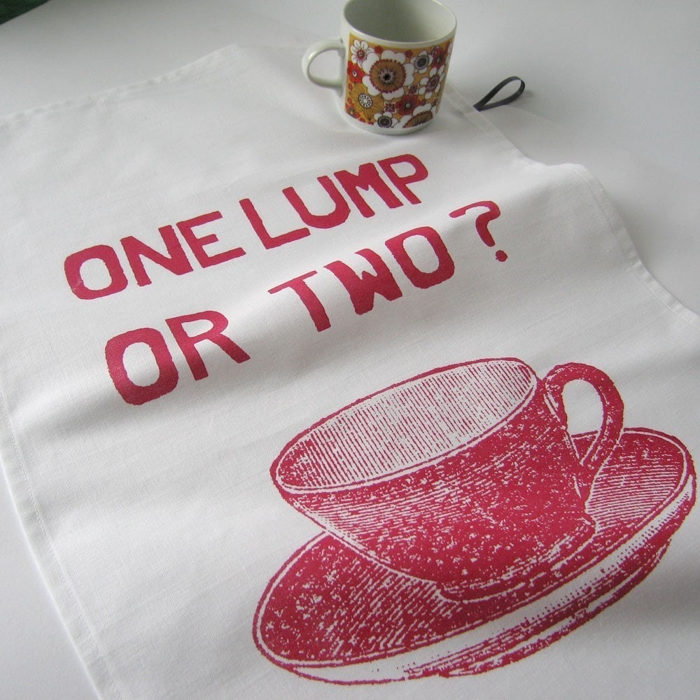 One Lump or Two Tea towel - cranberry