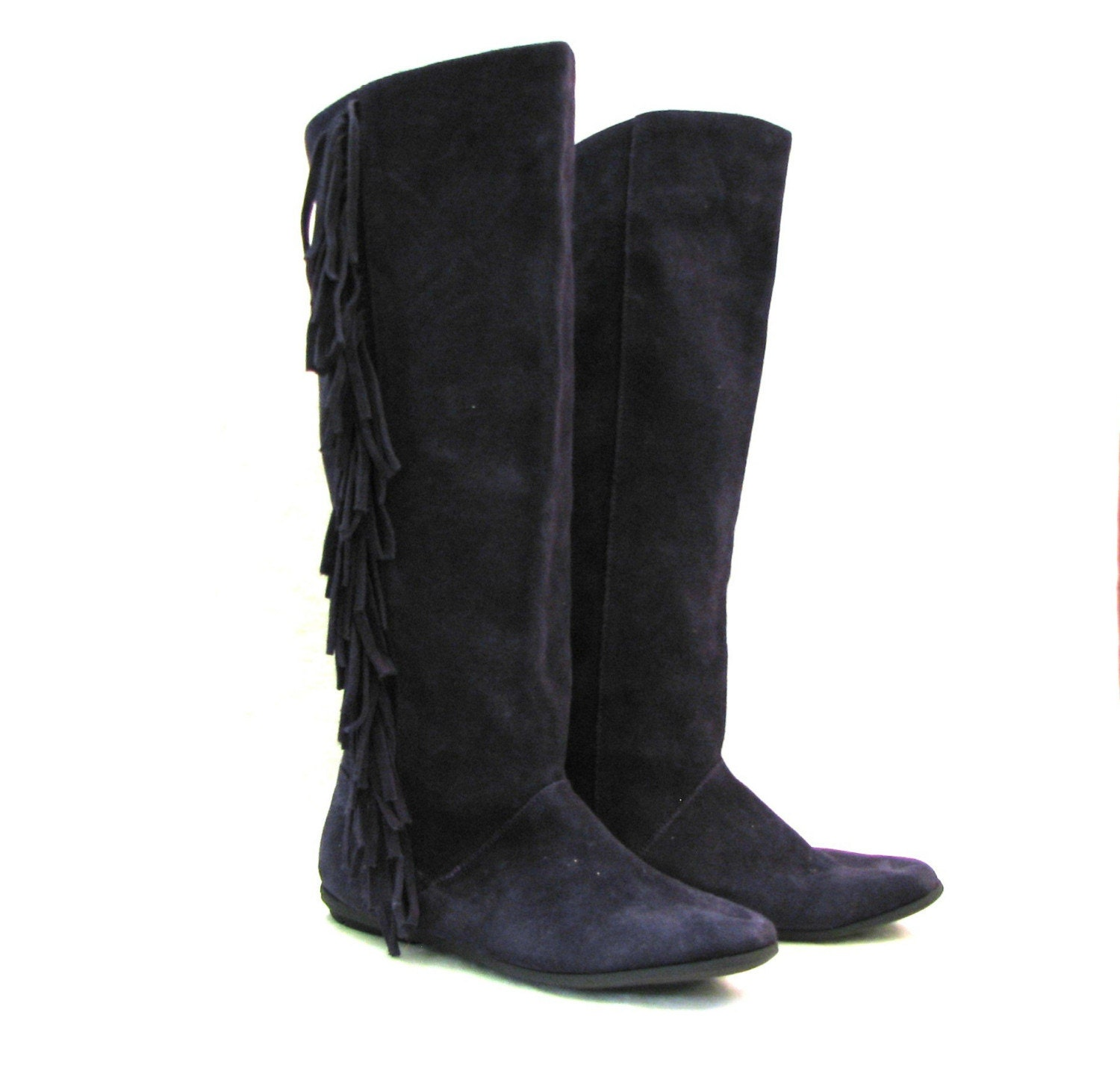 purple suede moccasin fringe knee high boots by