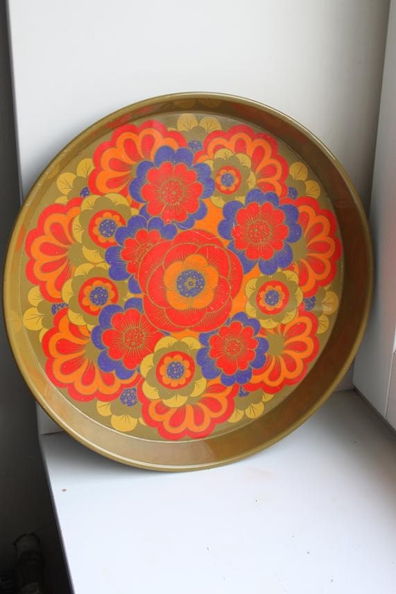 Vintage Danish Modern Gold Orange and Blue Round Metal Tray
