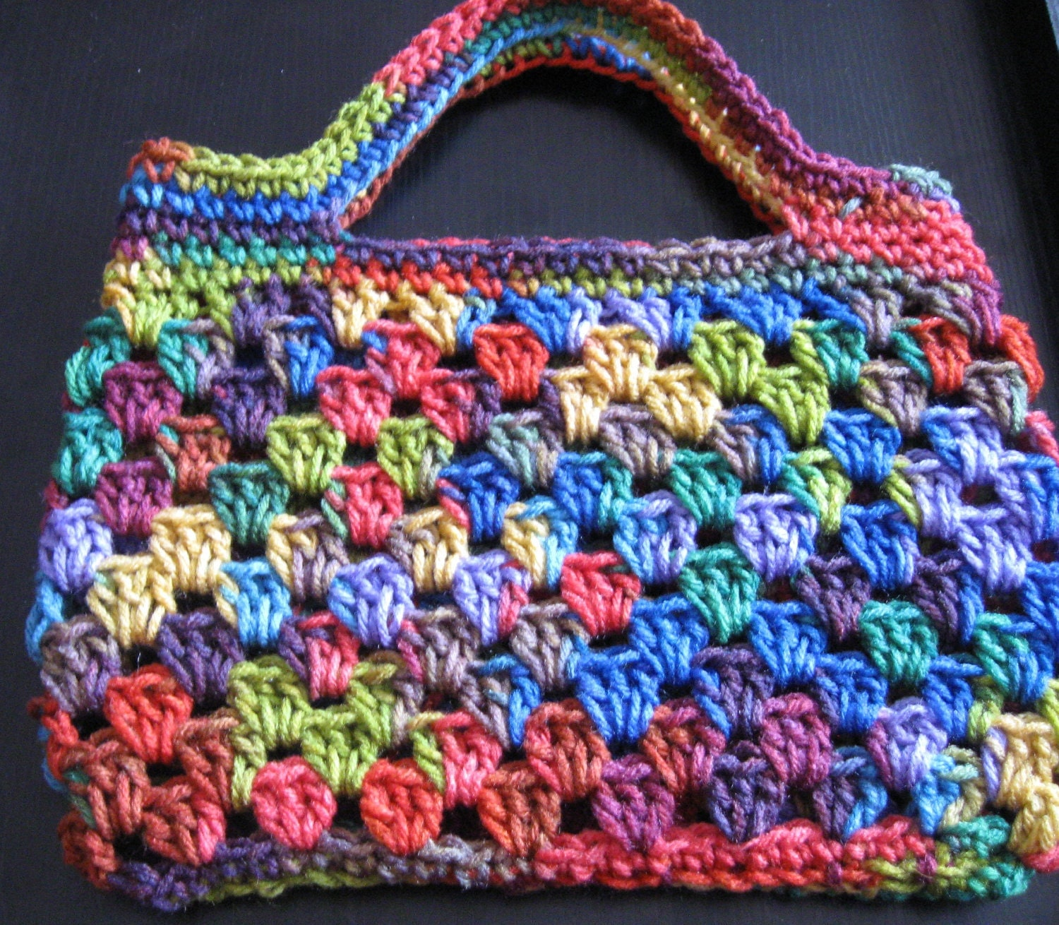 Crochet Rainbow Bag : Items similar to Crochet Rainbow bag or purse. Granny stripe. on Etsy