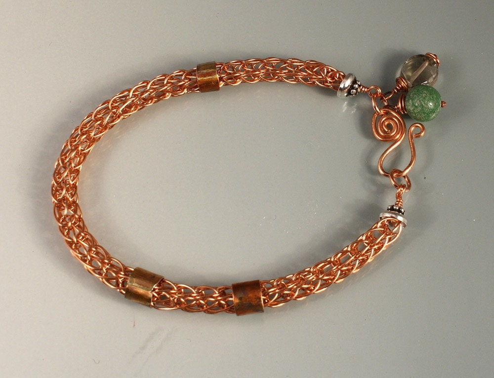 Viking knit copper bracelet by oakgeorgia on Etsy