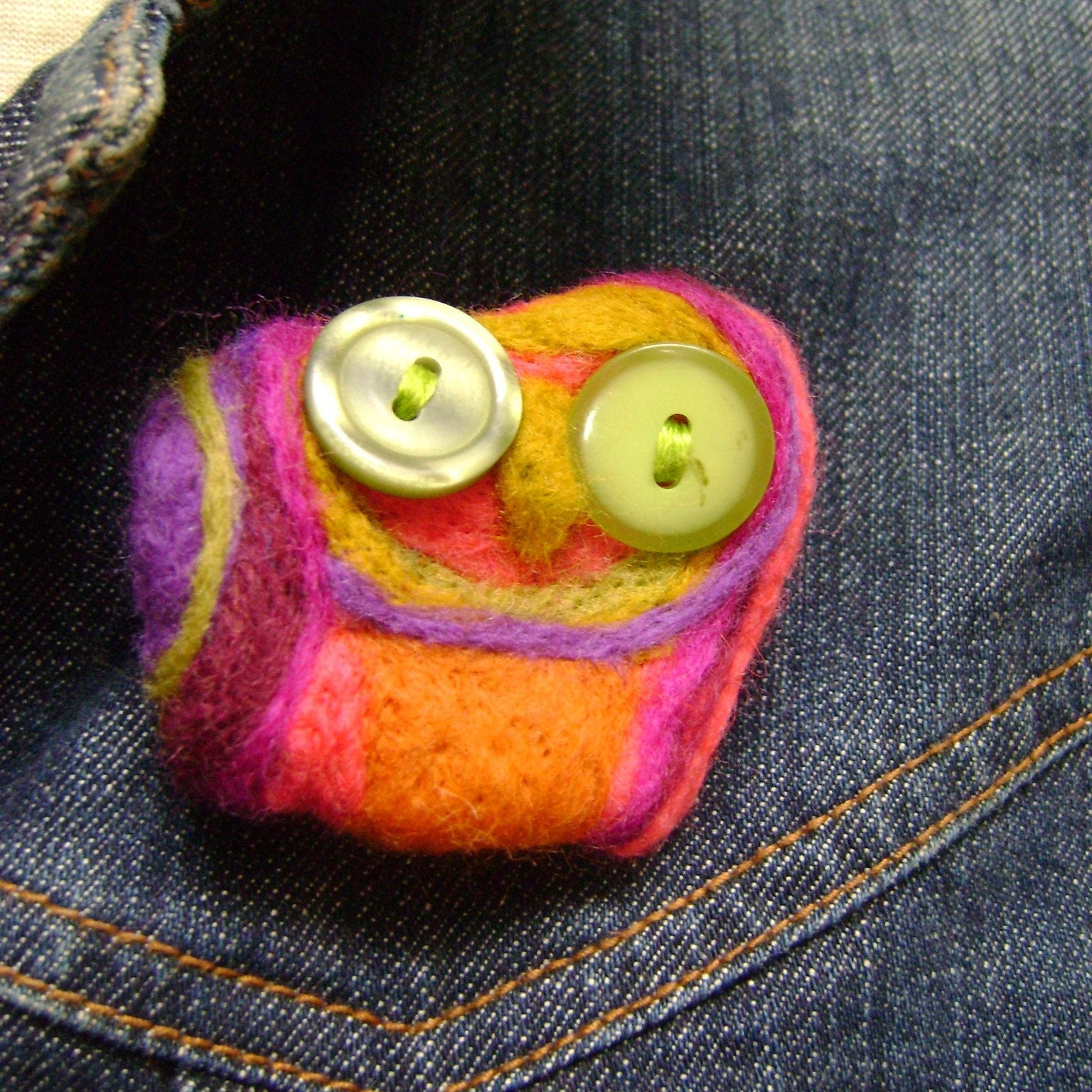 Elsa needle felted owl pin