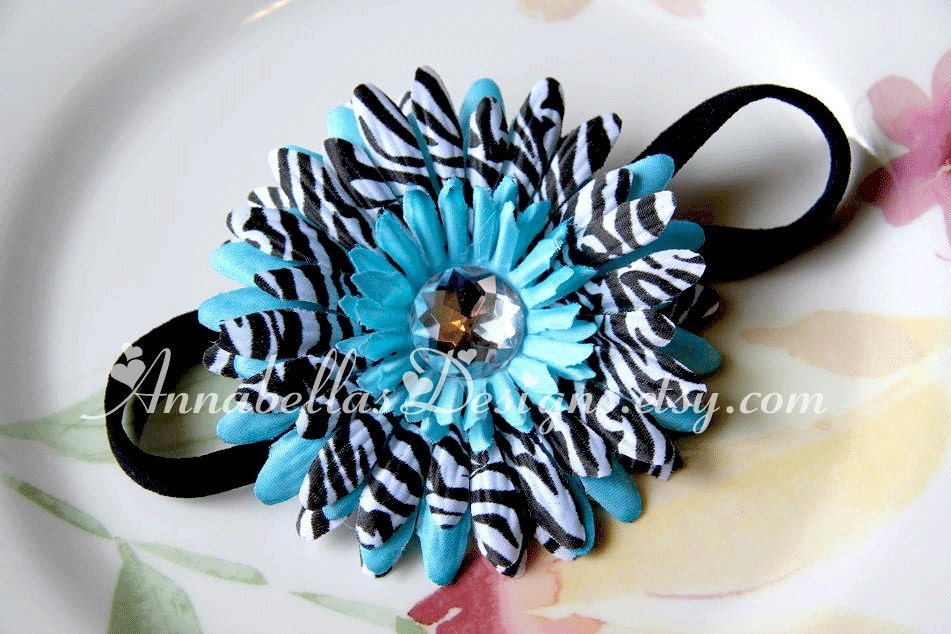 Turquoise and Zebra Gem Center Daisy on a Black Skinny Stretch Headband - Babies/Toddlers/Girls/Adults