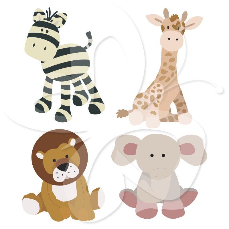 Soft Toys Clip Art : Safari soft toys digital clip art clipart by