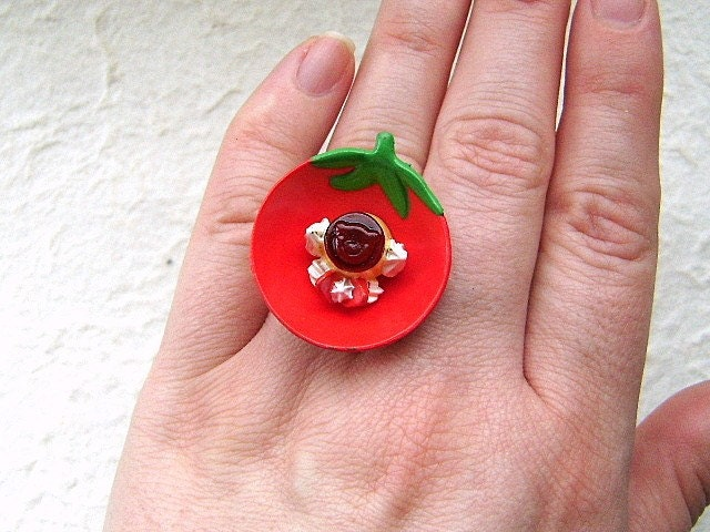 Kawaii Cute Japanese Ring -  Red Strawberry Bowl  With Pudding And  Whip Cream