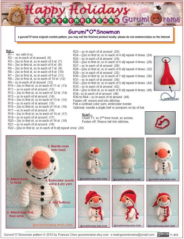 Free Amigurumi Snowman Patterns : amigurumi Snowman crochet pattern stuffed plush snowman