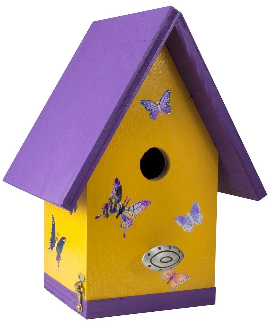 Artsy Designer Birdhouse / Quality Wood / Butterflies Yellow and Purple