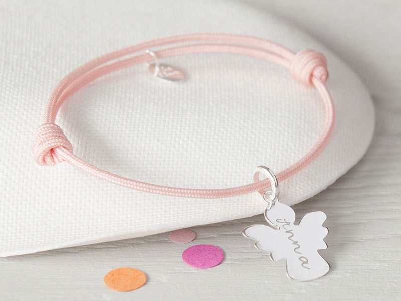 Personalised Bracelet Angel Charm  Merci Maman Jewellery Gift kids children teenagers holy communion christening