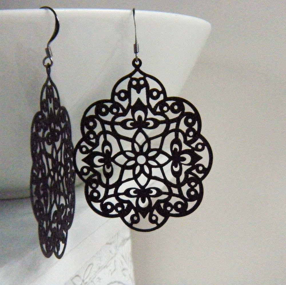 Black Filigree Earrings, Floral Motif, Statement Earrings, Urban Chic Earrings - Angelic Scalloped - merryalchemy