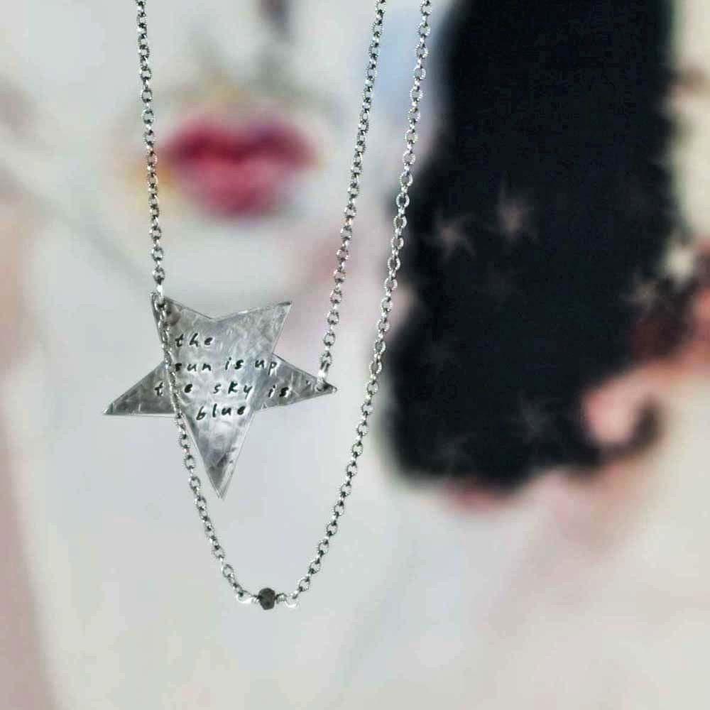 Rock Star Necklace with Rough Cut Diamond Bead - Custom Words or Lyrics - SoulPeaces