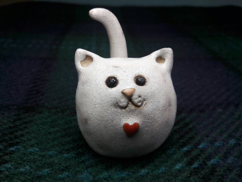 Ring holder white cat ornament cat gift cat lover handmade cat ornament