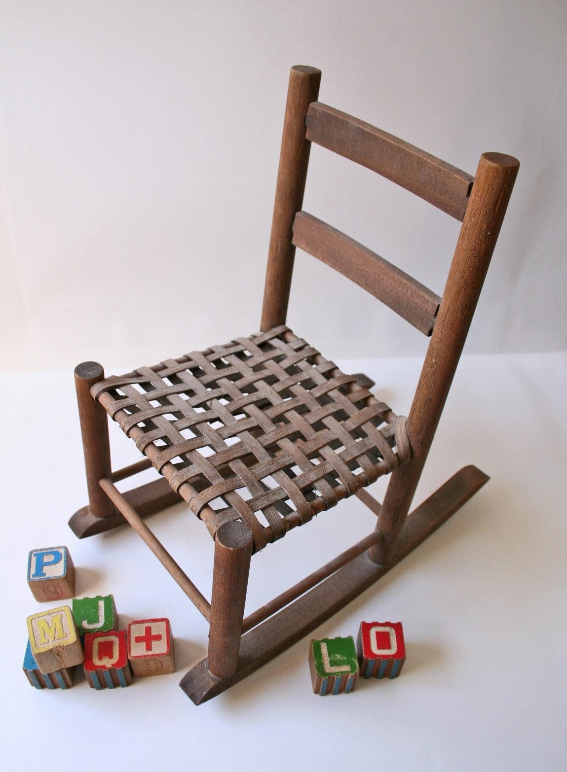 vintage miniature wooden rocking chair