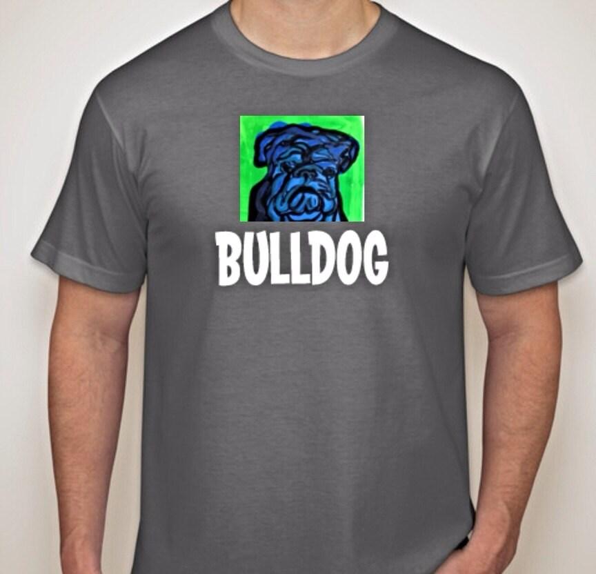 English bulldog art print grey t shirt by bulldogsbysashalynn T shirts for english bulldogs
