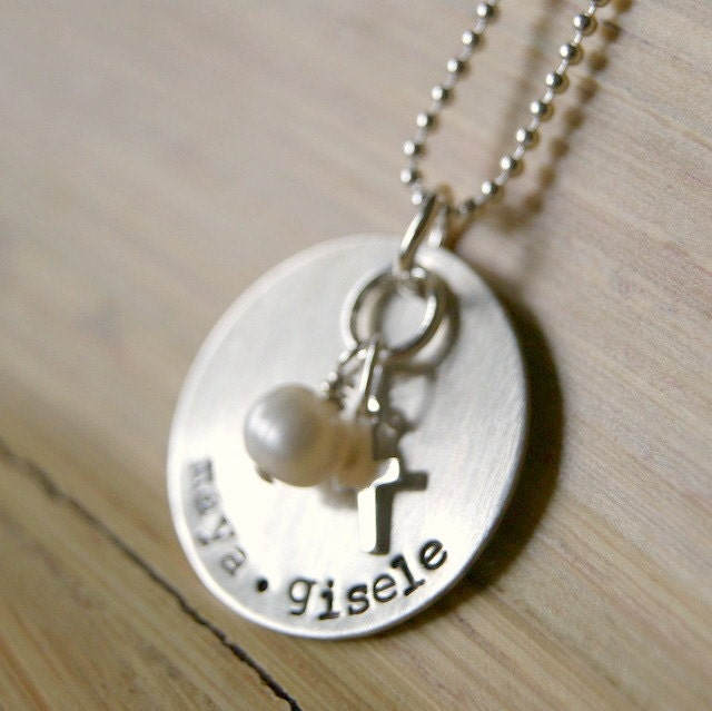 Personalized Hand Stamped Children's names necklace for mom with sterling cross and pearl