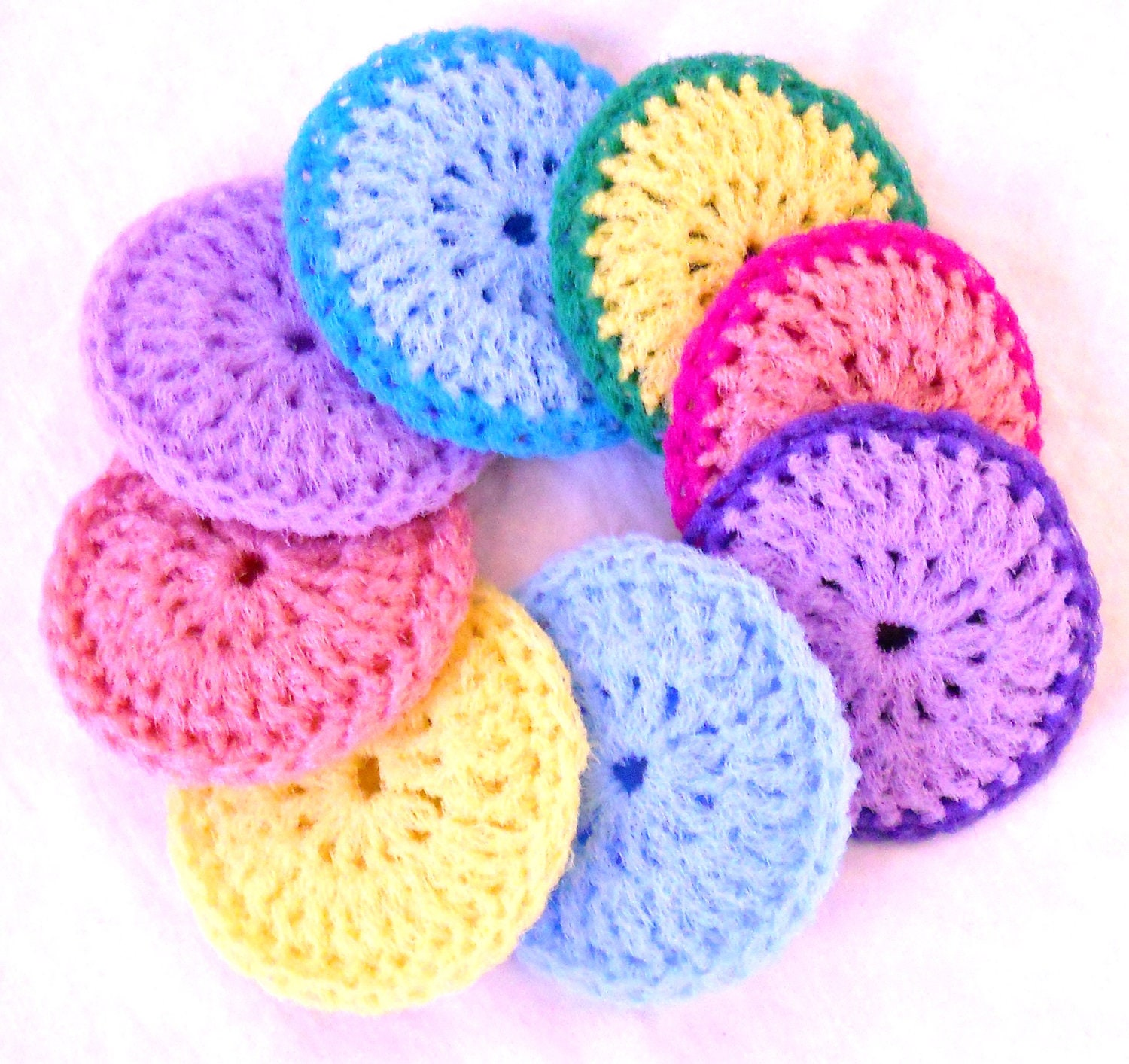 Crocheting Scrubbies With Netting : Crochet Nylon Dish Scrubbies Set of 8 Pastel by ArtistBeeBee