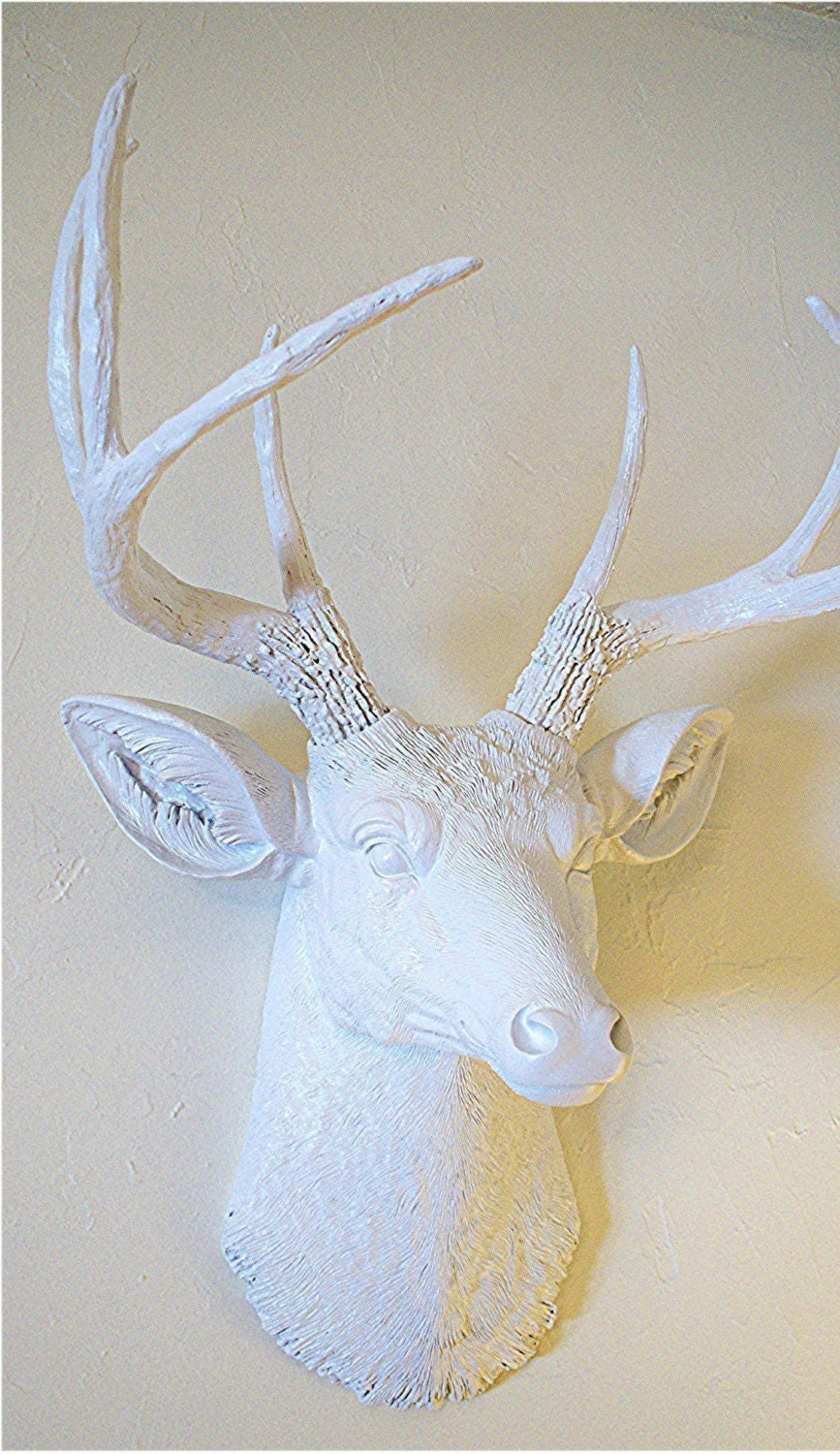 White Stag........Faux Taxidermy,Mount,Deer Head,Antlers,Buck,Crisp Modern White