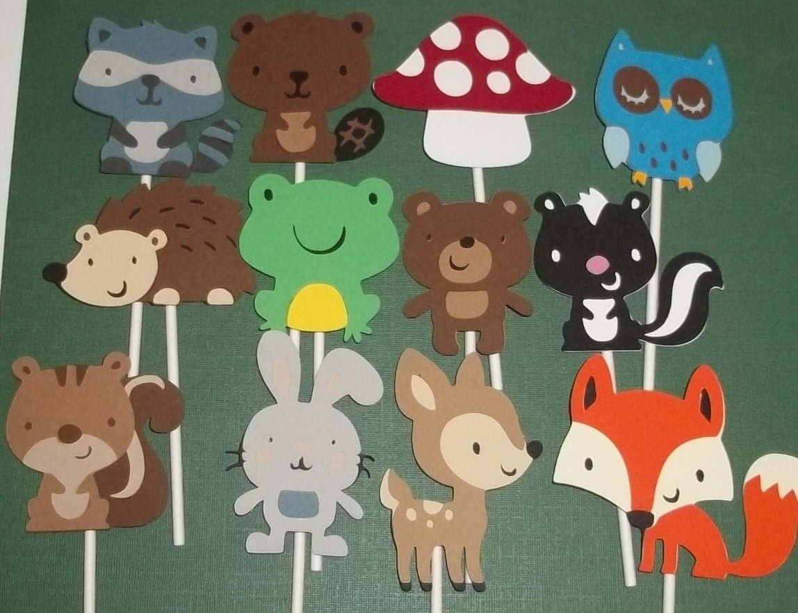 12 woodland animal cupcake toppers diaper by for Animals decoration
