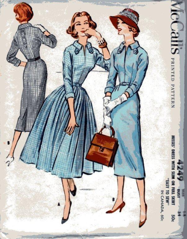 McCalls 4249 Vintage UNCUT 1957 Size 14 Dress Sewing Pattern