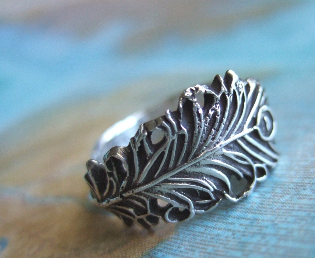 Lucky Peacock Feather, Oxidized Fine Silver Ring, Custom Size