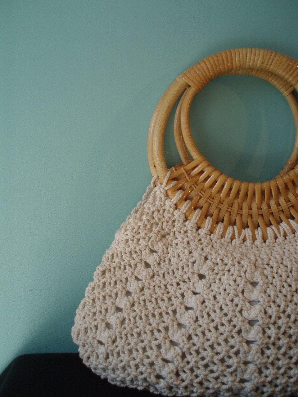 Cute For Spring... Macrame and Bamboo Handbag