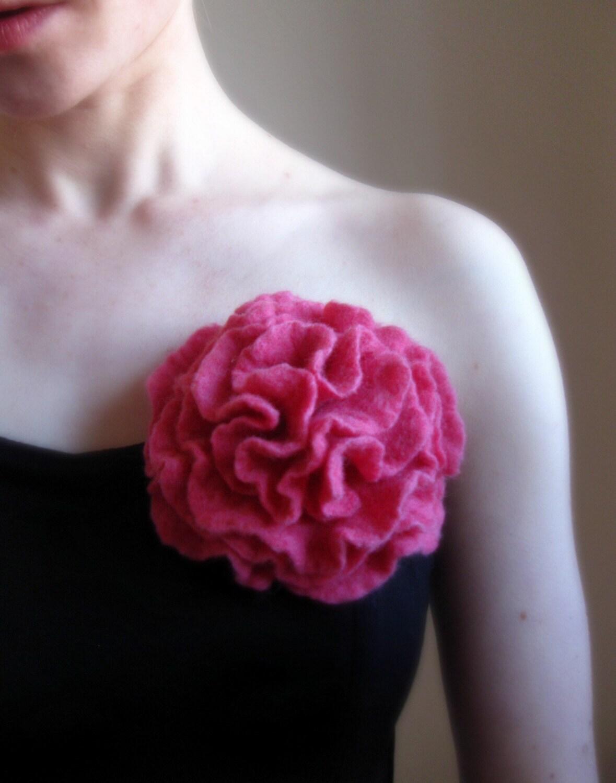 Mademoiselle Pink,Felt Flower Brooch, Hand Felted,Large Size