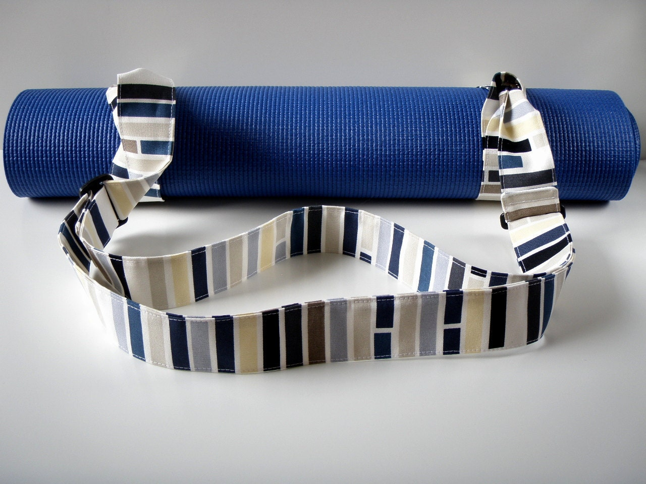 Yoga Mat Strap Stripes Handmade