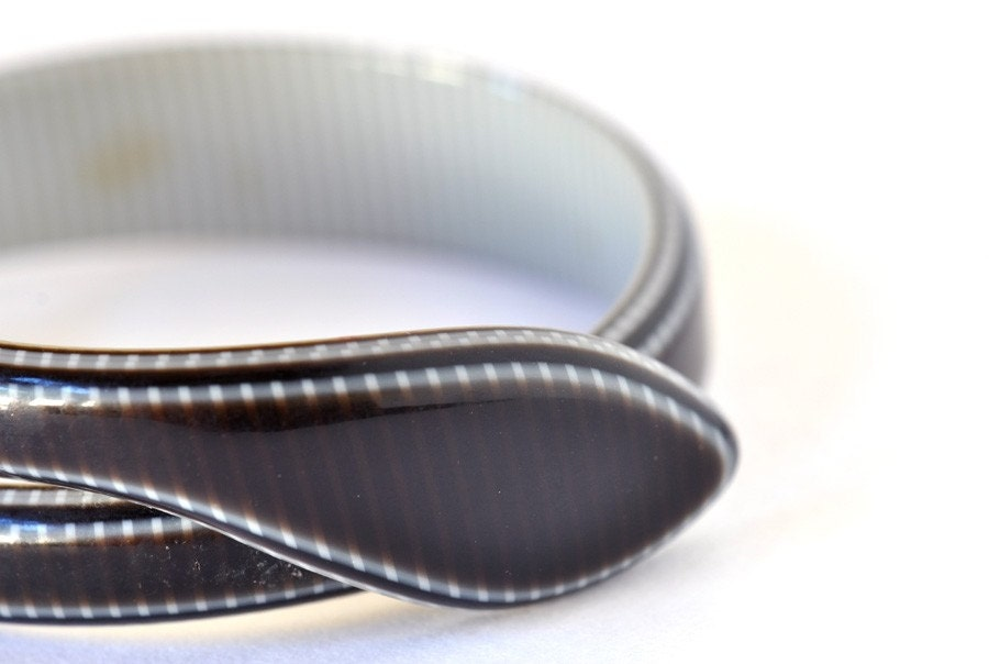 Vintage Lea Stein Gray Snake Bracelet