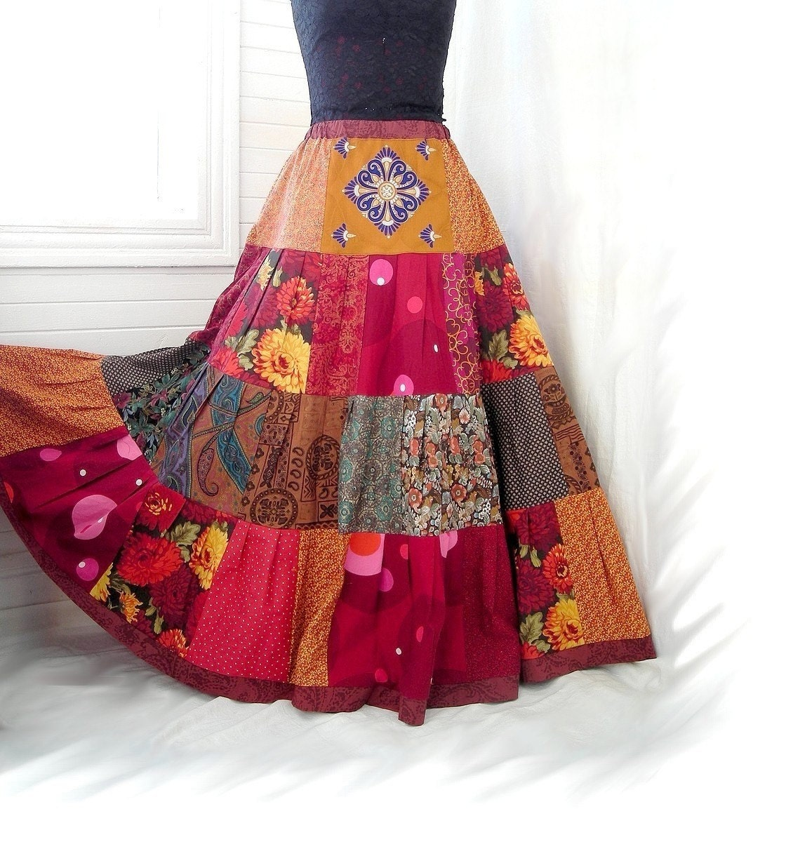 Red Fire Blossoms - Floral Patchwork Boho Gypsy Skirt, 19-foot hem, Sizes - S, M, L, XL
