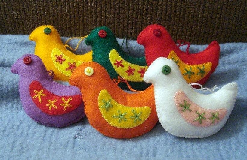 Set of 3 Custom Felt Doves -- SALE