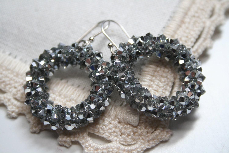 Precious Swarovski Spinkled Sparkling Silver Hoops Earrings