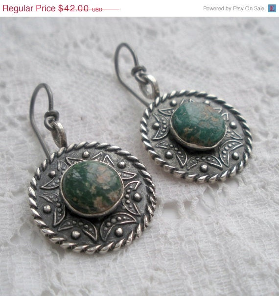 Edwardian Sterling and Turquoise Earrings - audreyf