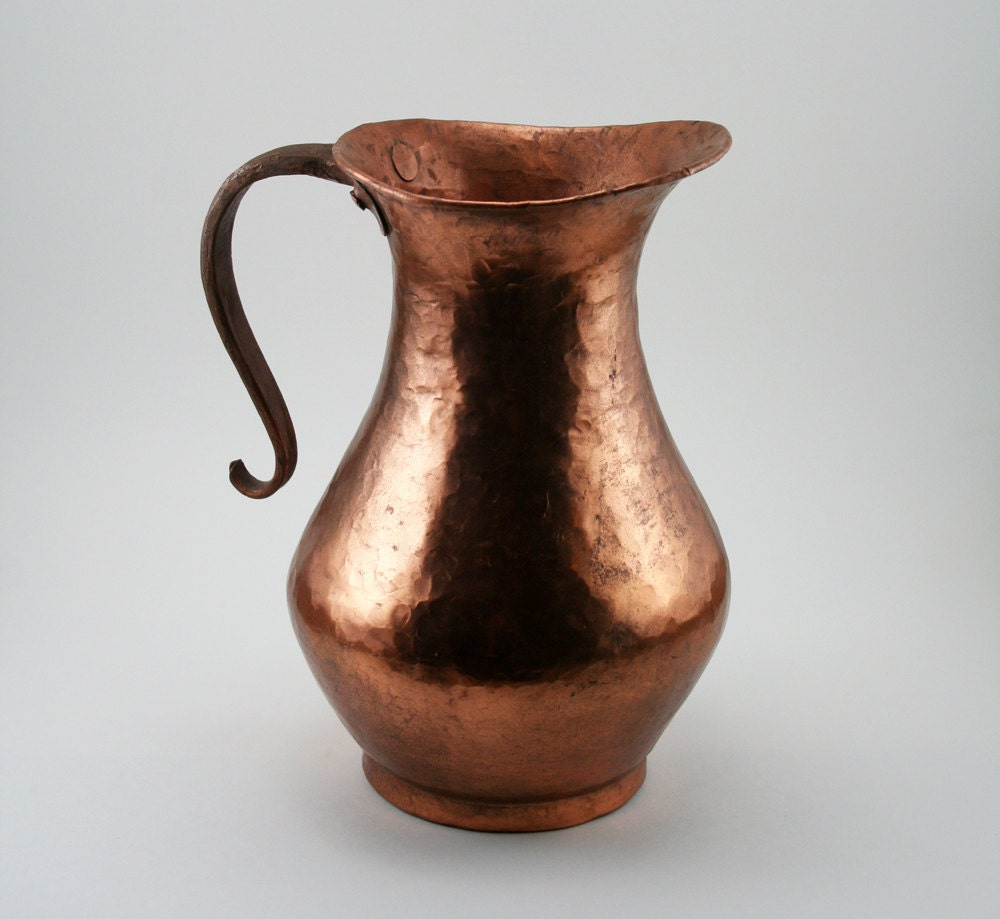 Copper Pitcher with Hammered finish, and gracefully curved handle - MysticLily