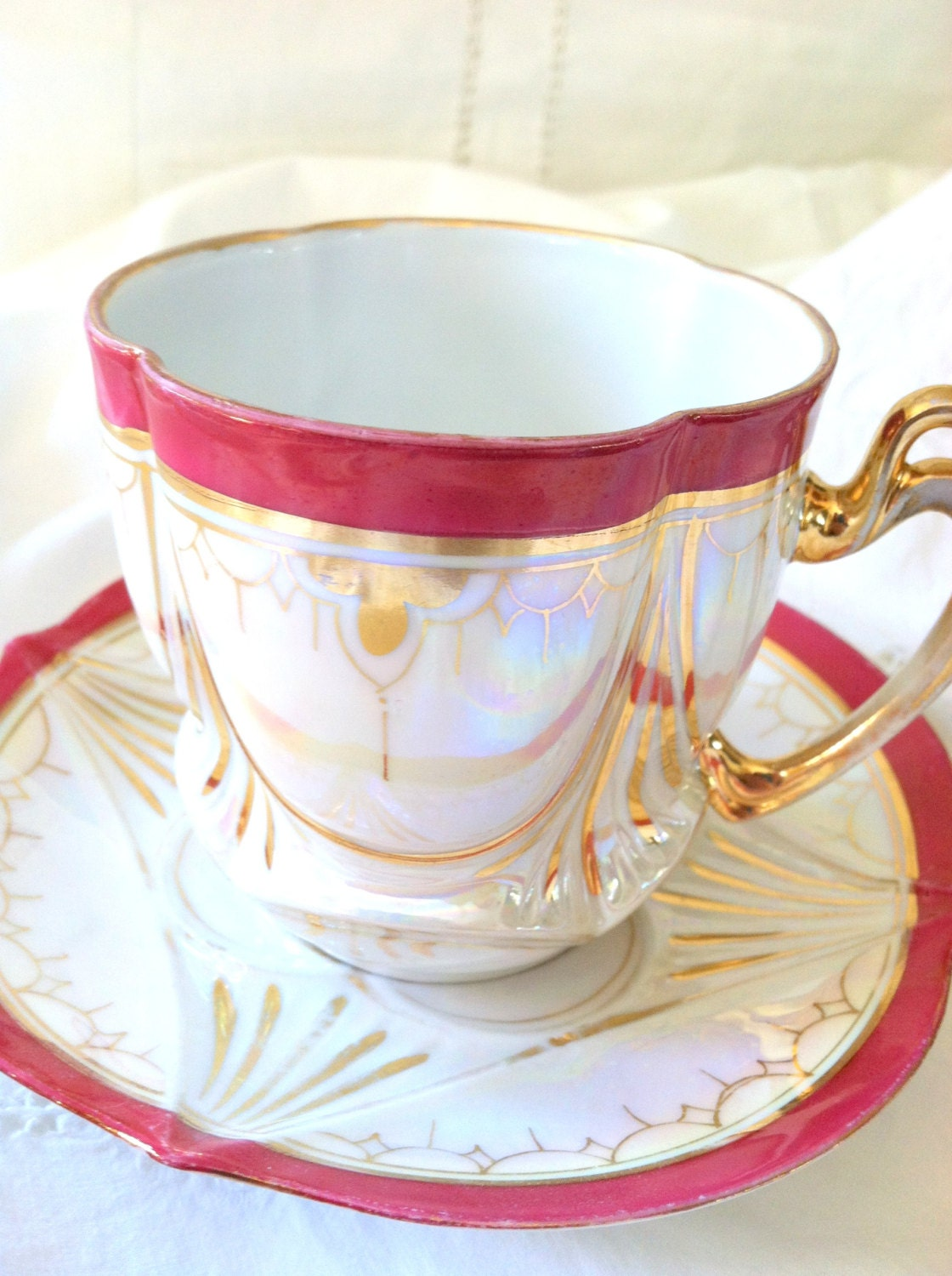 Vintage Opalescent Tea Cup and Saucer Christmas Tea Party Birthday, Thank You or Housewarming Gift Inspiration - MariasFarmhouse