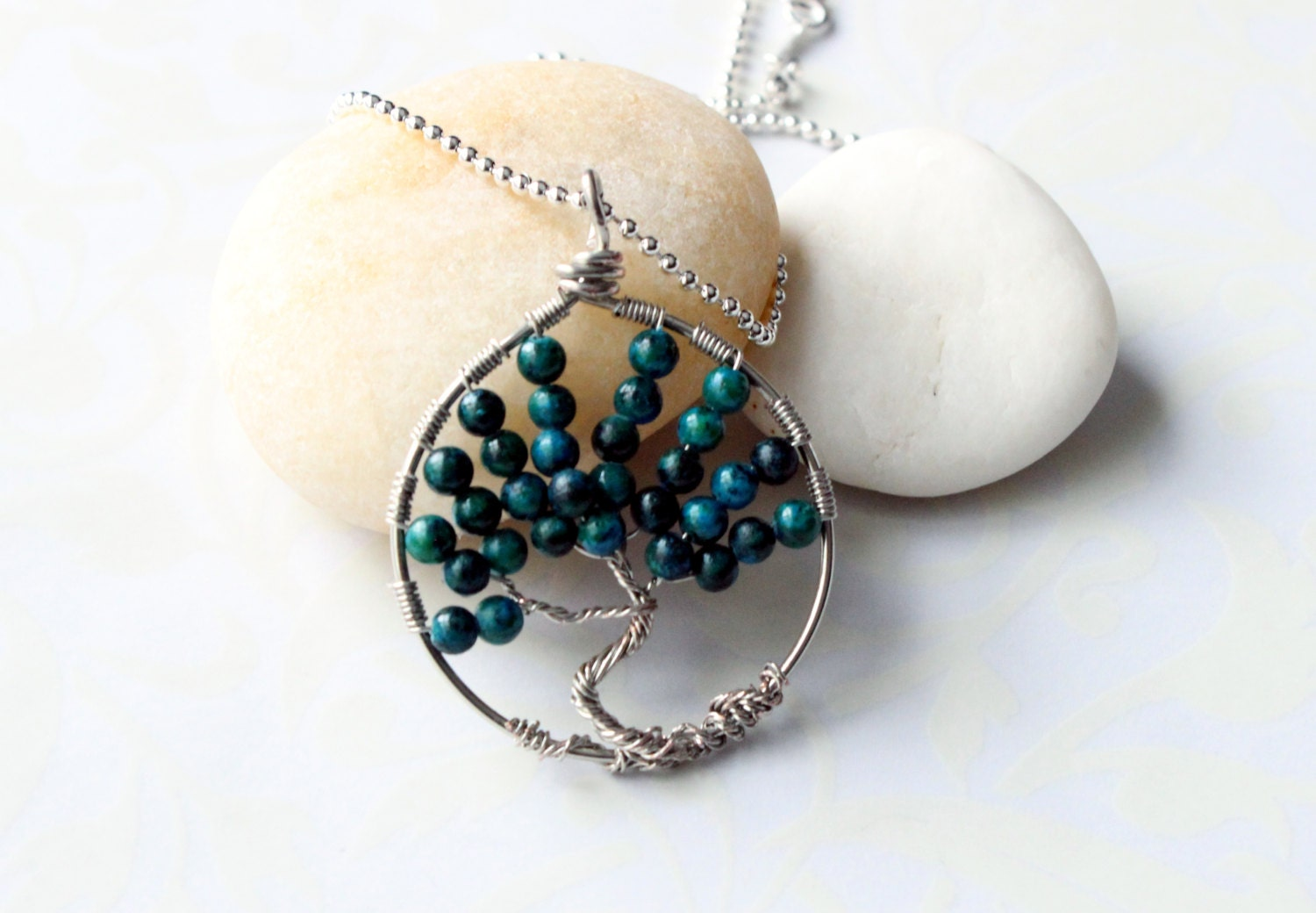 Unique Tree Of Life Handmade Wirewrapped With Turquoise Natural Gem Stone Pendant Necklace - RTStyles