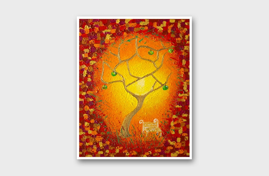 Original tree painting print Golden Apple tree art Red abstract print Modern wall art Home decor Nature Bright Yellow Orange Fine art print - AstaArtwork