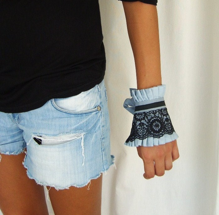 Black Lace on Ice Blue Ruffle Cuff by OnePerfectDay - OnePerfectDay