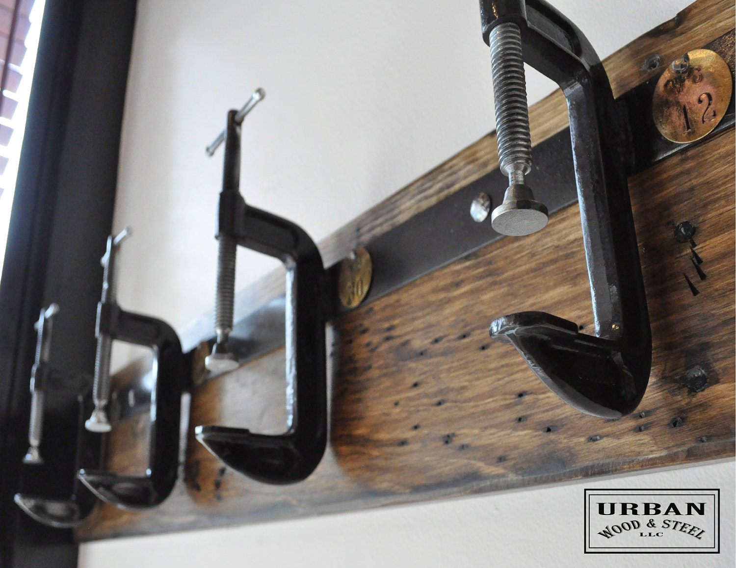 Industrial C Clamp Coat Rack - urbanwoodandsteel