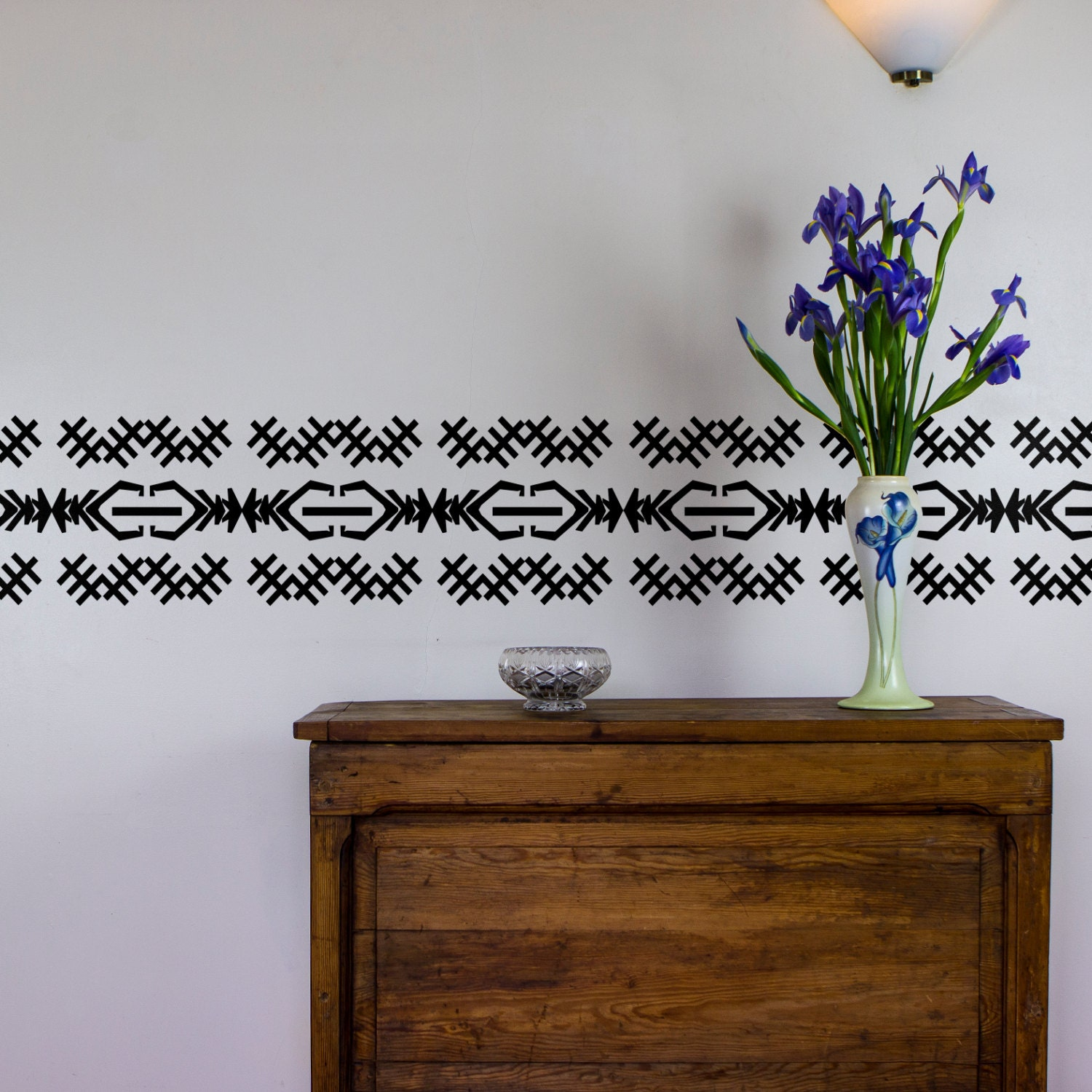 Traditional African Hatched Vinyl Wall Art Decal Border for Interior Design