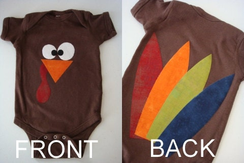 Little Turkey Thanksgiving onesie or shirt with feathers on the back size 12-18 months