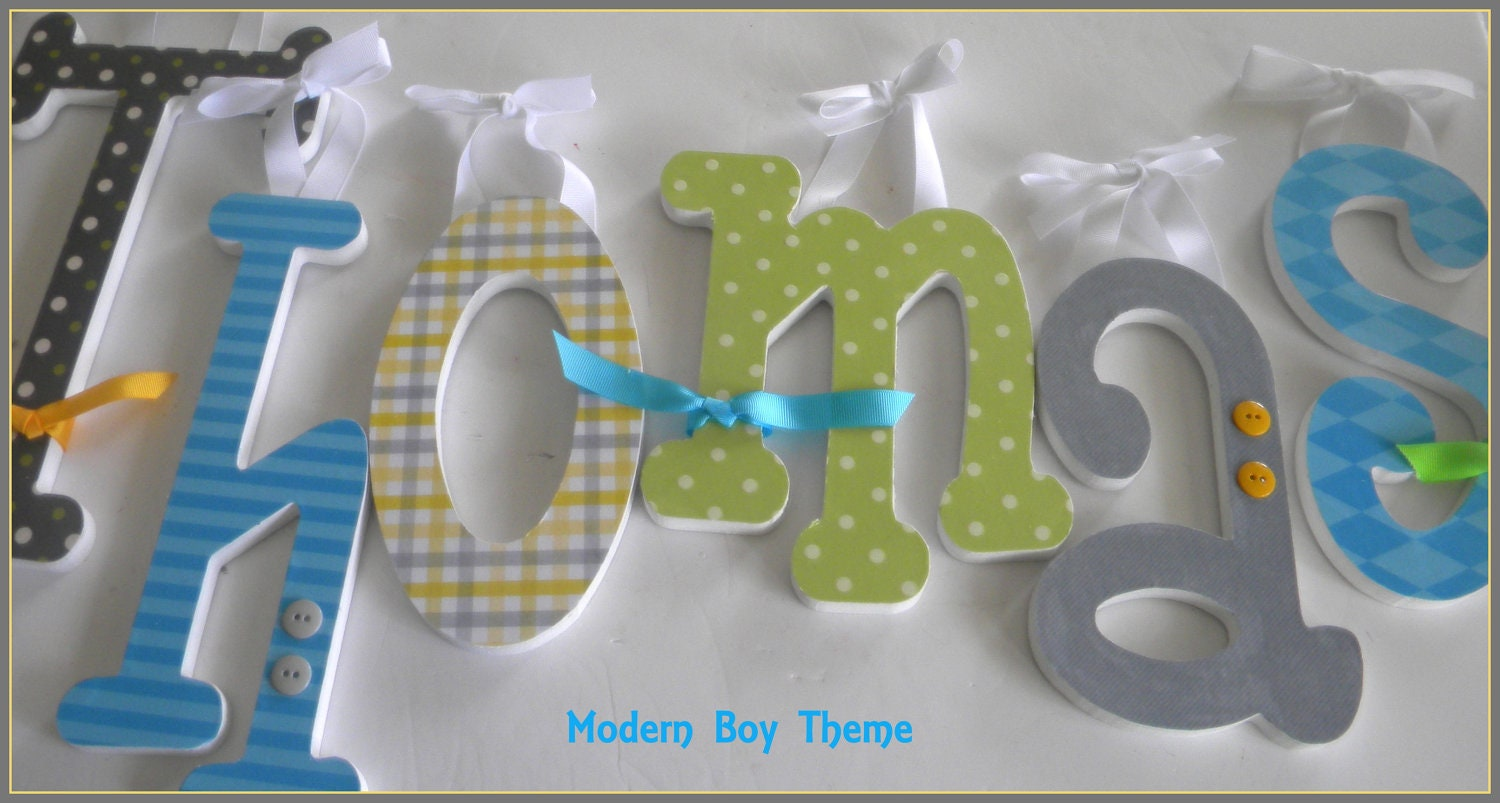 Baby nursery wall letters modern boy theme by dwellingonline for Baby name letters decoration